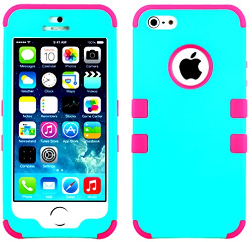 Mylife Hot Pink And Teal - Colorful Robot Series (Neo Hypergrip Flex Gel) 3 Piece Case For Iphone 5/5S (5G) 5Th Generation Smartphone By Apple (External 2 Piece Fitted On Hard Rubberized Plates + Internal Soft Silicone Easy Grip Bumper Gel)