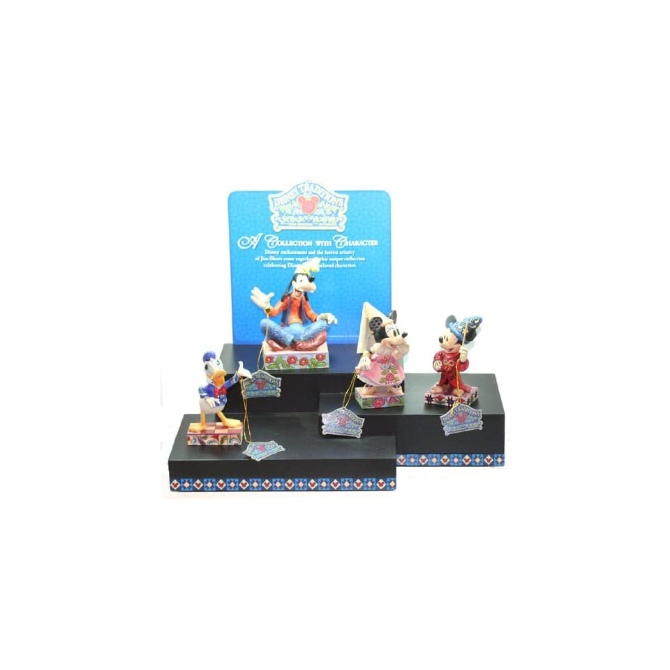 Jim Shore Disney Figurine Display with Mickey Minnie Mouse Donald and Goofy