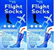 2 Pairs of Ladies White Anti-DVT FLIGHT SOCKS
