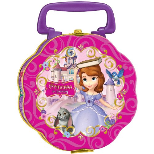 "Amscan Sofia the First Tin Box Party Favor Set, Pink/Purple, 5 3/4"" x 6"" x 2 3/4"" - 1"