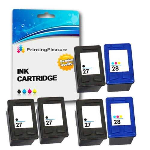 Printing Pleasure - ( 2 SETS + 2BK ) High Quality Cartuccia d'inchiostro HP27 & HP28 Rigenerate Per HP Stampanti Deskjet 3320, 3325, 3420, 3520, 3535, 3538, 3550, 3645, 3650, 3740, 3744, 3745, 3840, 3845, 3848, 5150, 5160, 5650, 5652, 5850, Fax1240, Officejet 4200, 4212, 4215, 4219, 6110, PSC 1100, 1110, 1209, 1210, 1210V, 1210xi, 1215, 1216, 1310, 1312, 1315, 1317