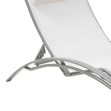 Bain Blanc Gris Longue Aluminium Soleil De Textilène Multi Chaise fg7yb6