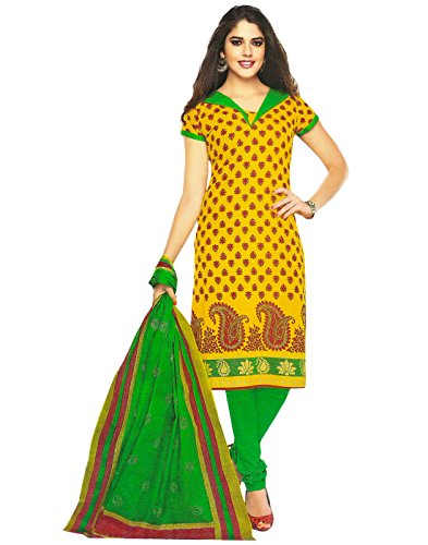Jevi Prints Yellow Unstitched Cotton Printed Punjabi Suit Dupatta