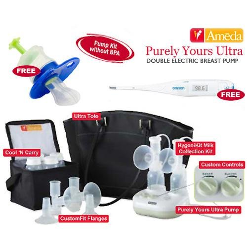 Ameda Purely Yours Ultra Breast Pump With Free Omron Digital Thermometer And Baby Medicine Dispenser front-562518