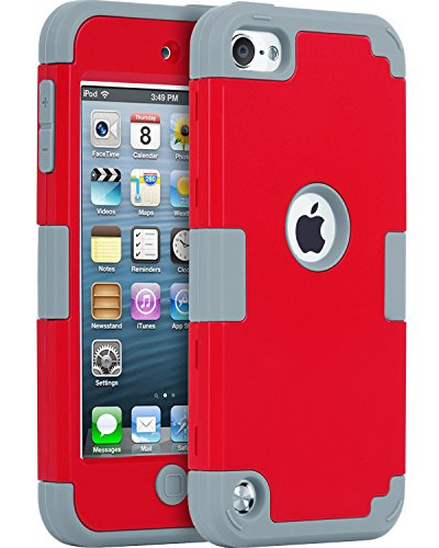 iPod 5 Cases, iPod 6 Cases, BENTOBEN 3 In 1 Anti-Scratch Combo Full body Protective Case for iPod Touch 6th 5th Gen Hybrid Shockproof High Impact Rubber Hard Case Cover, Red/Dark Grey (Waterproof Cas For Ipod 5 compare prices)