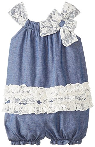 Bonnie Baby Baby-Girls Chambray Bubble & Lace Romper 3-6M (S02546-Cv) front-1047767