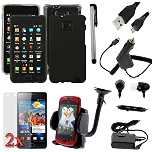 Gtmax 11 Items Accessories Bundle Kit + Strap Lanyard for Samsung Galaxy S2 SII / S 2 I9100 / AT;T I777 IMPORTANT: NOT compatible with Sprint / T-Mobile / Epic Touch 4G / SGH-i727