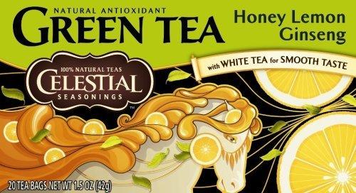 Celestial Seasonings Green Honey Lemon Ginseng Tea 20-Count (Pack Of 6)
