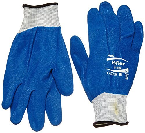 Ansell HyFlex 11-919 Guanti oléofuges, protezione meccanico, colore: blu (Confezione da 12 paia), 10, Blu, 12