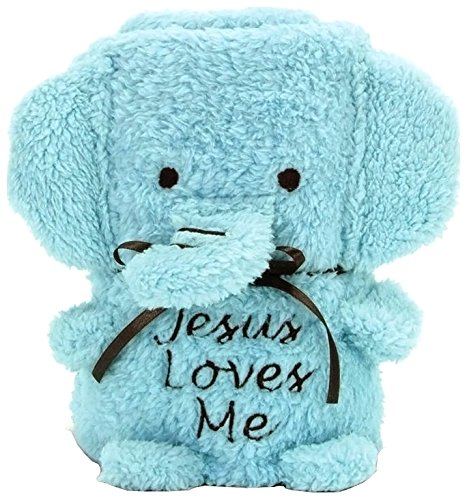 Brownlow Kitchen Elephant Blankie with Jesus Loves Me, Blue - 1