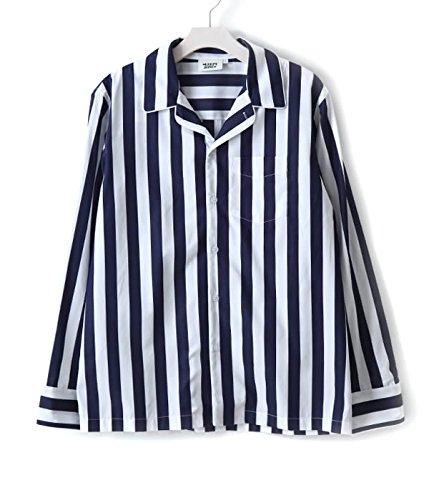 SLEEPY JONES [スリーピージョーンズ] / henry pajama shirt (パジャマ シャツ ルームウェア) S ネイビー/ホワイト