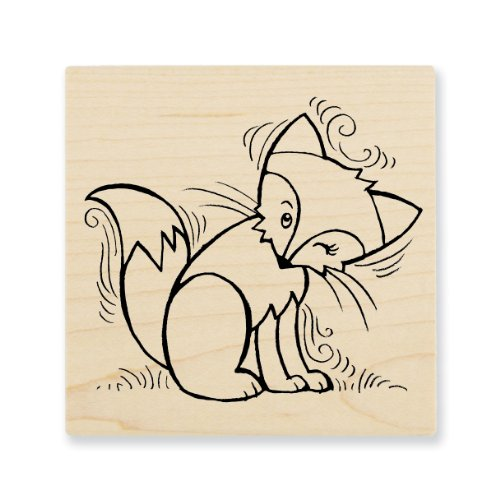 "Stampendous Wooden Handle Rubber Stamp, ""Pen Pattern Fox"""