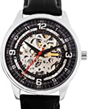 Swiss Watches:Akribos XXIV Men's AK410SS 'Saturnos' Skeleton Automatic Leather Strap Watch