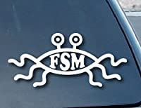 "Flying Spaghetti Monster FSM Car Window Vinyl Decal Sticker 5"" Wide (Color: White)"
