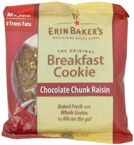 Erin Baker's Breakfast Cookies, Chocolate Chunk Raisin, 3-Ounce Individually Wrapped Cookies (Pack of 12)