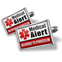 "Neonblond Cufflinks Medical Alert Red ""Only gluten Free Allergy Safe"" - cuff links for man from NEONBLOND Jewelry & Accessories"