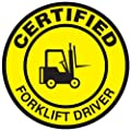 """Accuform Signs LHTL334 Adhesive Vinyl Hard Hat/Helmet Safety Message Label, Legend """"CERTIFIED FORKLIFT DRIVER"""" with Graphic, 2-1/4"""" Diameter, Yellow on Black (Pack of 10)"""