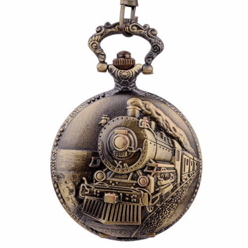 Topearl Train Design Alloy Quartz Pocket Watch Chain White Dial
