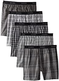 Hanes Men's Classics 5-Pack Yarn Dye Exposed Waistband Boxer – Colors May Vary
