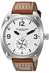 Stuhrling Original Men's Quartz Stainless Steel and Leather Casual Watch, Color:Beige (Model: 581.01)