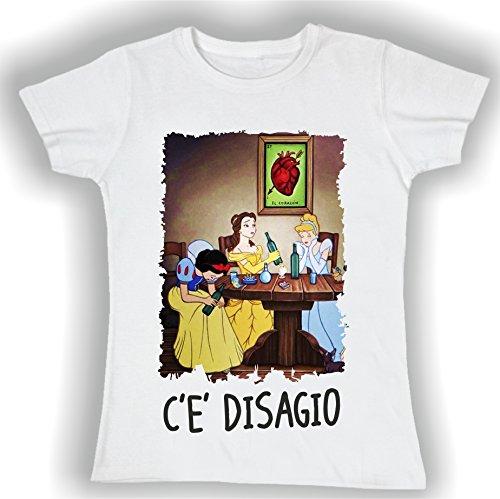 T-shirt DONNA cotone BASIC super vestibilità sagomata top qualità - LE PRINCIPESSE UBRIACHE divertenti humor MADE IN ITALY (M, BIANCO)