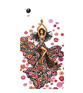 PrintVisa Fashion Flower Girl Dress Design 3D Hard Polycarbonate Designer Back Case Cover for Vivo Y51L