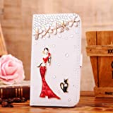 Locaa(TM) For HTC One Mini 2 (M8 mini Mini2 2014) 3D Bling Cases Deluxe Luxury Crystal Pearl Diamond Rhinestone eye-catching Beautiful Leather Retro Support bumper Cover Card Holder Wallet Case - [General series] girl in red dress