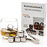 Scotch Rocks Silver Edition Gift Box. Set of 8 Stainless Steel Ice Cubes with Tongs
