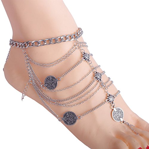 PearlPlus Vintage Style Coin Beach Multi Chains Bohemian Anklet And Toe Ring Combo Set (Toe Rings And Anklets compare prices)