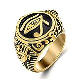 Elfasio Mens Egyptian Pharaohs Eye of Horus Ra Udjat Stainless Steel Ring Hip hop Jewelry Size 8