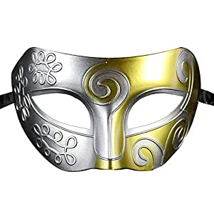 Coofit® Retro Roman Gladiator Halloween Party Mask Masquerade Mask (Silver & Gold) by Coofit®
