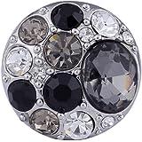 Morella Unisex Click-Button Druckknopf mit dunklen und weißen Zirkoniasteinen