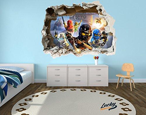 Wandtattoo aufkleber lego ninjago 3d zerst rten wand stil gro lego aufkleber aufkleber wall - Lego wandtattoo ...