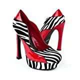 Bumper Womens Red Round Toe Platform Pump Wedge, Zebra Patent Leather