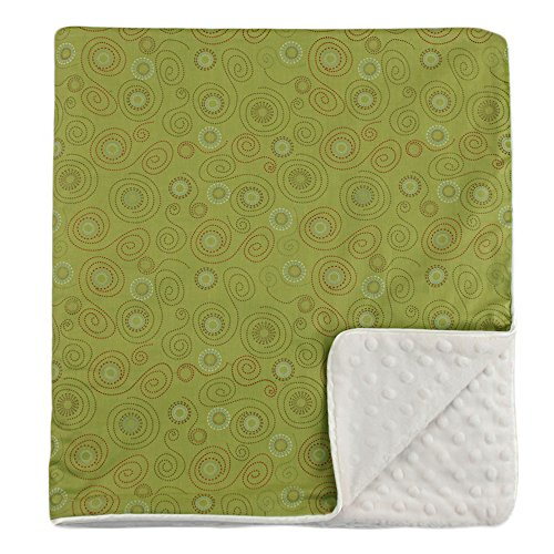 "My Blankee Swirls Organic Cotton Lime Green w/ Minky Dot Cream Baby Blanket, 30"" X 35"""