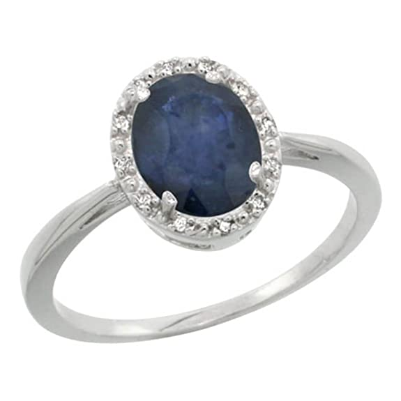 Revoni Sterling Silver Blue Sapphire And Diamond Ring, Oval Stone (8X6 mm)
