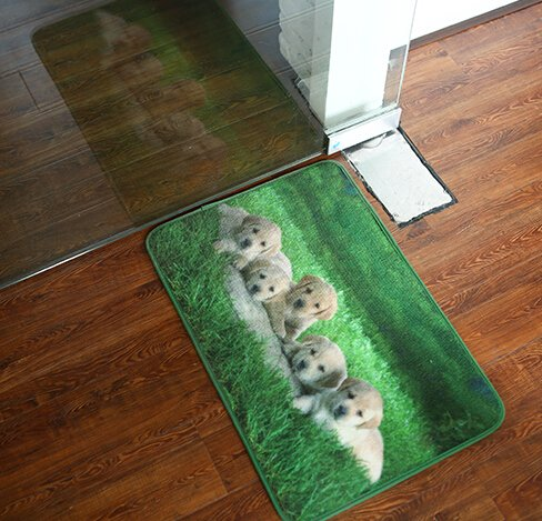 2 Size Creative Cartoon Style Cute Dog Doggie Skidproof Rug Golden Retriever Samoyed Ground Mat Floor Mat Door Mat (400MM*600MM, Golden Retriever)