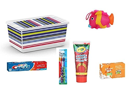 Bath Gift Set: Fingerpaint Soap, Sudzing bar, Kids toothpaste & toothbrushes, Bath sponge - Bundle of 6 - 1