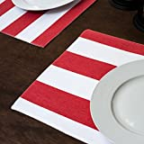 Red & White Stripes Placemats 4/Pack
