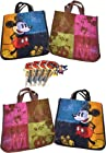 Disney Gift Set includes 4 Disney Vintage Mickey Mouse Minnie Mouse Reusable Shopping Tote Bags Set of 4 with Mickey and Minnie Figurines and 4 Classic Mickey Pens with Notepads