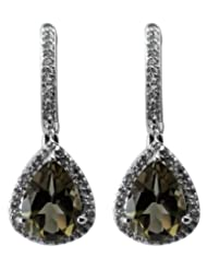 Carillon India Smoky Quartz & White Topaz Silver Drop Earring