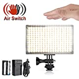 Pergear A216C AIR SWITCH Sensor LED Video Light Panel Dimmable Bi-Color On-Camera Led Light with Ultra High Light Intensity for DSLR/Camcorder/Tripod/Selfie Stick (With Battery and Charger)