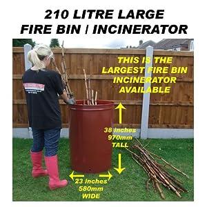 210 LITRE LARGE GARDEN INCINERATOR/BURNER/BONFIRE BIN FOR WASTE/RUBBISH/LEAVES