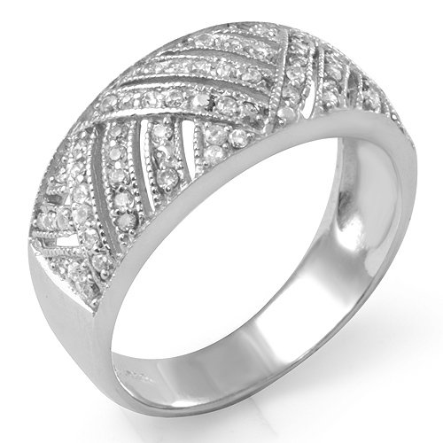 Anniversary Cubic Zirconia Round Bridal Wedding Band Ring Sterling Silver 925 Sz6