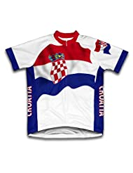 Croatia Flag Short Sleeve Cycling Jersey for Women