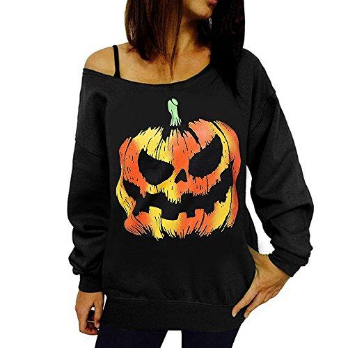 Sharondar Donne Halloween Zucca Stampare Exposed spalla Manica lunga felpa Maglione Top Camicetta Camicia (XL, nero)