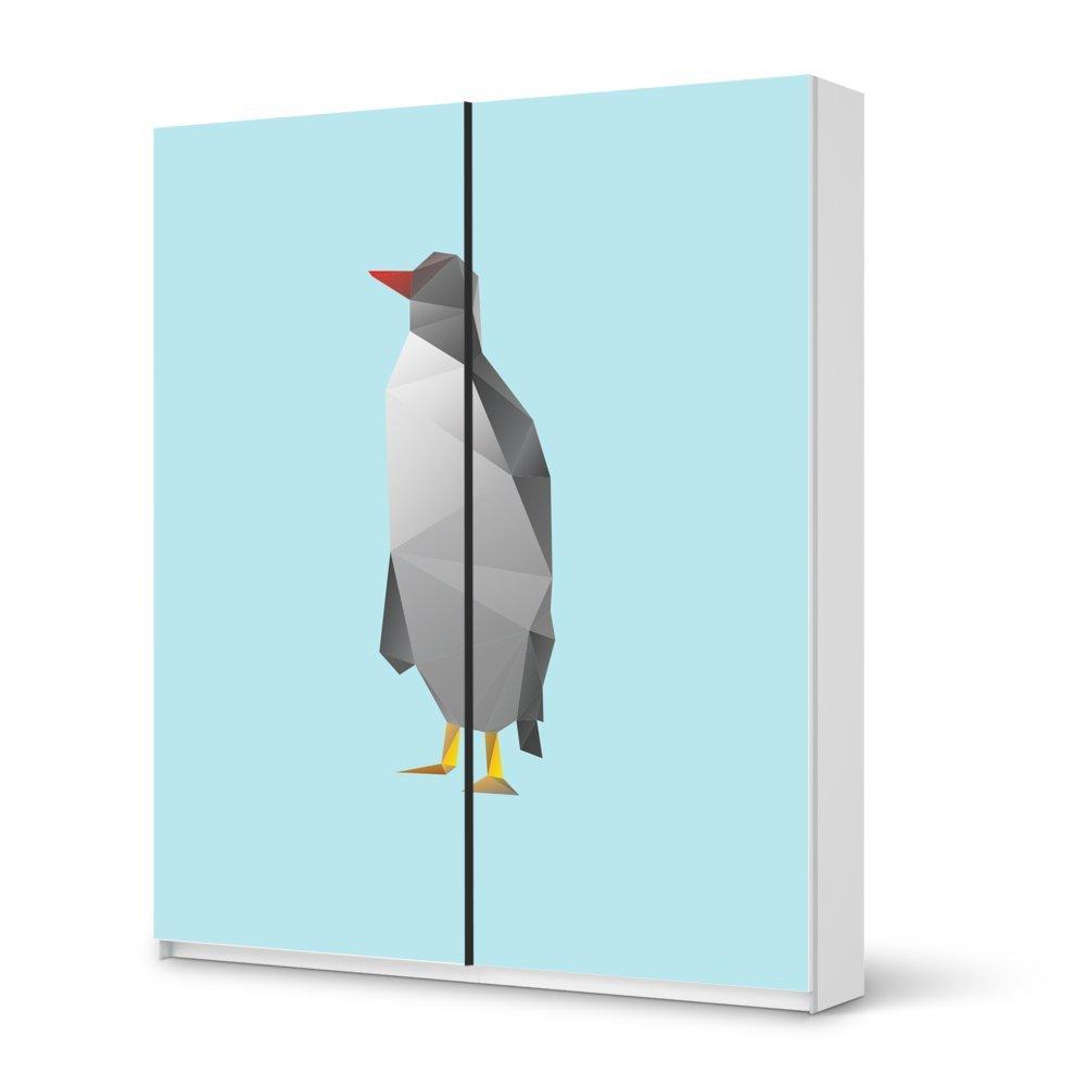 Folie IKEA Pax Schrank 236 cm Höhe – Schiebetür / Design Aufkleber Origami Penguin / Dekorationselement günstig
