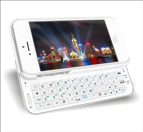 FlyStone® Ultra-thin Wireless Backlit Bluetooth Slid-out Keyboard + Protect Bumper Rubberized Hard Shell Case for Apple iPhone 5 (WHITE for iPhone 5)