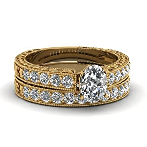 1.20 Ct Oval Shaped Diamond Pave Engagement Rings Set With Milgrain VVS2 14K GIA
