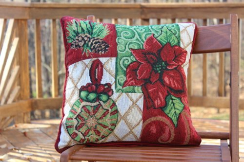 Tache Set of 2 Christmas Tapestry Festive Holiday Tidings Cushion Throw Pillow Cover